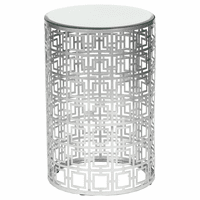 Round Accent Table with Pierced Geometric Pattern - Nickel