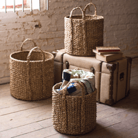 Round Braided Seagrass Storage Basket with Handles - Set of 3