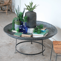 Round Coffee Table - Antique Metal Bowl with Iron Base