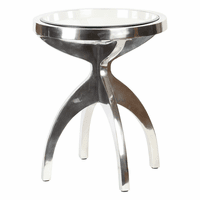 Round Metal Table with Nickel