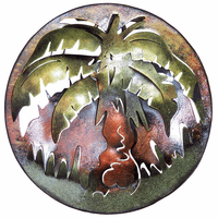 Round Palm Mini Metal Wall Art
