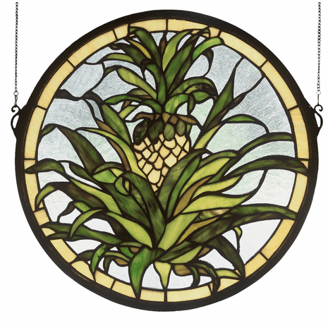Round Pineapple Stained Glass Window