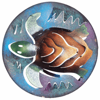 Round Sea Turtle Mini Metal Wall Art