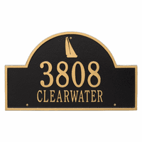 Sailboat Arch House Number Plaque - Black and Gold