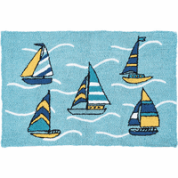 Sailboat Sea Hooked Rug