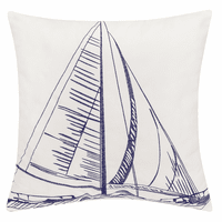 Sailboat Sketch Indoor/Outdoor Embroidered Pillow