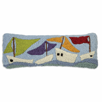 Sailboats on the Sea Hooked Wool Pillow