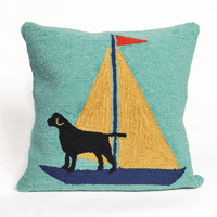 Sailing Dog Yellow Indoor/Outdoor Pillow