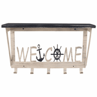 Sailing Welcome Wall Shelf with Hooks - Small