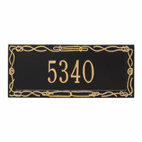 Sailor's Knot House Number Plaque - Black & Gold