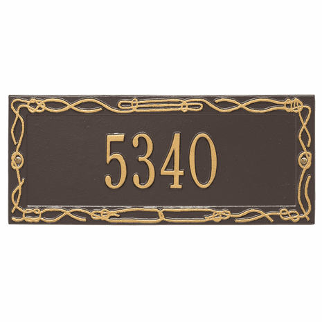 Sailor's Knot House Number Plaque - Bronze & Gold