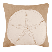 Sand Dollar Burlap Embroidered Pillow