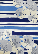 Sand Dollar on Blue Stripes Rug Collection