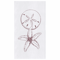 Sand Dollar & Sea Star Flour Sack Kitchen Towels - Set of 12