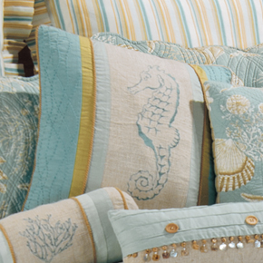 Sand Shell Beach Seahorse Embroidered Pillow