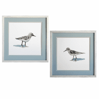 Sandpiper on White Framed Prints - Set of 2