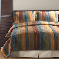 Sandy Beach Stripe 3-Piece Quilt Set - Full/Queen