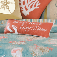Sandy Toes & Salty Kisses Embroidered Pillow
