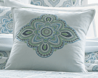 Santa Monica Square Pillow - Center Motif Embroidery