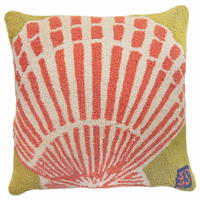 Scallop Seashell Hooked Wool Pillow