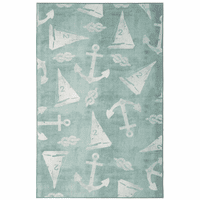 Scattered Sailboats Aqua Rug Collection