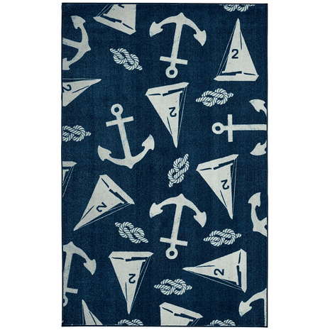 Scattered Sailboats Navy Rug - 5 x 8