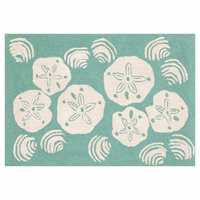 Scattered Shells Aqua Rug Collection