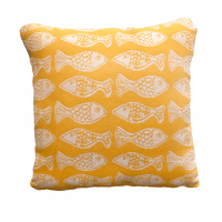 School of Fish Sunshine Yellow Accent Pillow - CLEARANCE