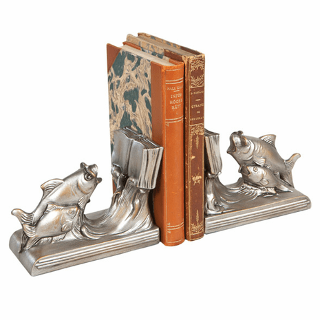Schooling Fish Bookends - Silver