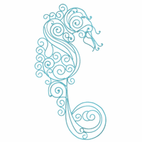 Scroll Metal Seahorse Wall Art