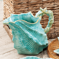 Sea Blue Shell Figural Pitcher