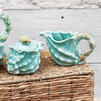 Sea Blue Shell Figural Sugar & Creamer Set
