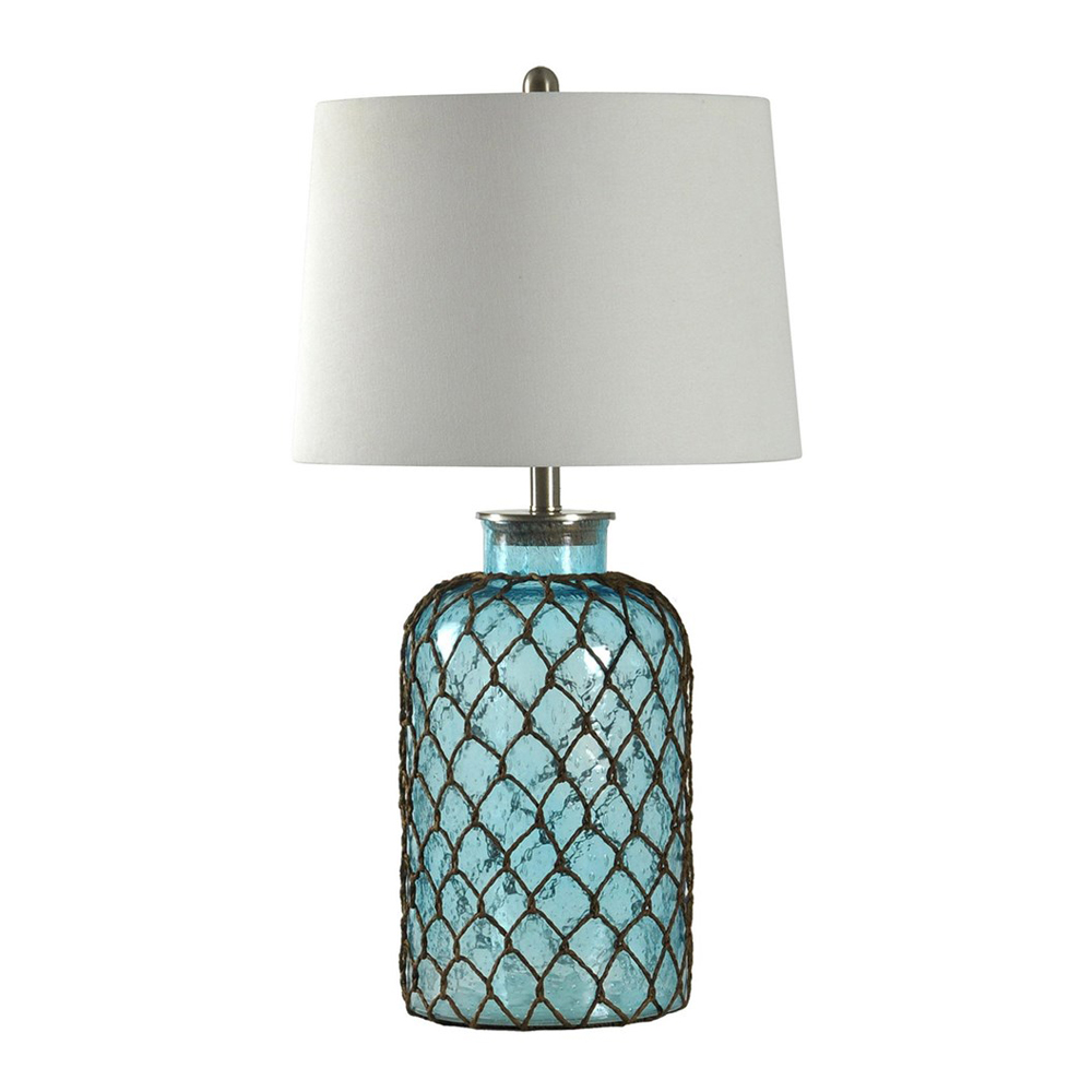 Beach Table Lamps Montego Bay Seeded Glass And Netting Table Lamp