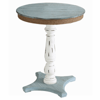 Sea Isle Two Tone Wood and Rope Apron Accent Table