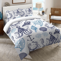 Sea Life and Shells Duvet Cover - Queen