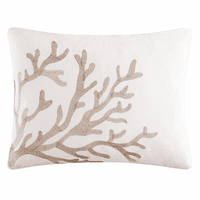 Sea Life Embroidered Coral Pillow