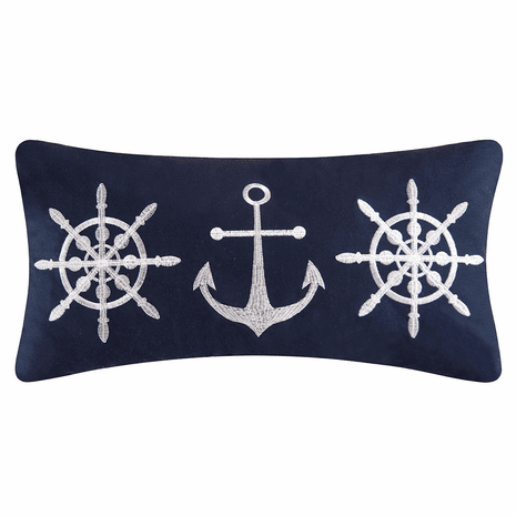 Sea Port Embroidered Pillow