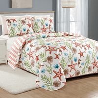 Sea Stars & Stripes Quilt Set - Full / Queen