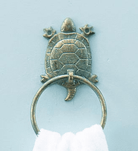 Sea Turtle Cast Iron Hand Towel Holder