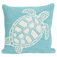 Sea Turtle Family Aqua Indoor/Outdoor Pillow