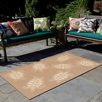 Sea Turtle Family Camel Indoor/Outdoor Rug Collection