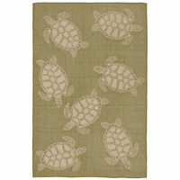 Sea Turtle Family Green Indoor/Outdoor Rug Collection