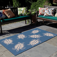 Sea Turtle Family Navy Indoor/Outdoor Rug Collection
