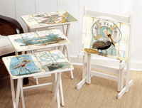 Seabirds TV Tray Set with Stand - Set of 4