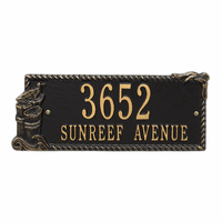 Seagull Rectangle Address Plaque - Black and Gold