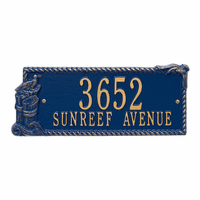 Seagull Rectangle Address Plaque - Blue and Gold