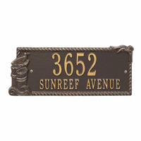 Seagull Rectangle Address Plaque - Bronze and Gold