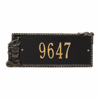 Seagull Rectangle House Number Plaque - Black and Gold