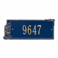 Seagull Rectangle House Number Plaque - Blue and Gold