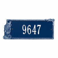 Seagull Rectangle House Number Plaque - Blue and White